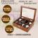 韩米琪实木质腕時計ケース腕輪ブレスレットコレクションボックス8格木質バッグ8位バッグ胡桃木色